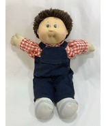 Vtg 1986 Coleco Cabbage Patch Kids Fuzzy Brown Hair w/Outfit Overalls Tooth - $22.76