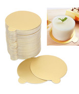 Cake Paper Tray Set 100 Pcs Round Gold Birthday Party Plates Cupcake Boa... - $13.92