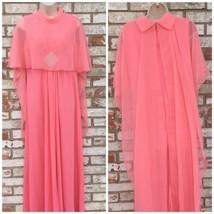 1960's Peach Chiffon Rhinestone Party Dress Large Mid Century Vintage Retro - $44.54
