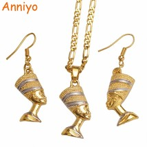 Anniyo Egypt Nefertiti Queen Portrait Pendant Necklace & Earrings Egyptian Women - $17.19