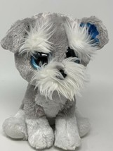 "TY Beanie Boo Plush Whiskers 9"" Blue Glitter Eyes Grey Schnauzer Dog Stu... - $12.38"