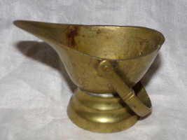 Antique Vtg  Brass CHINA ASHTRAY MATCH HOLDER INCENSE BURNER Coal Scuttl... - $14.16