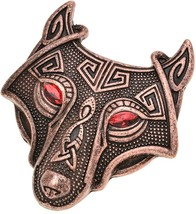 W WOOGGE Viking Norse Wolf Head Brooch Pin Red Eye Antique Copper Gothic... - $38.20