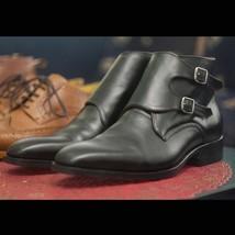 Men's Handmade Black Color Double Monk Strap Formal Boot for Men's - $149.99+