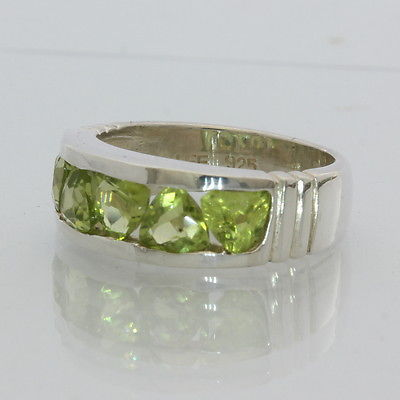 Green Peridot Trillions Channel Set Handmade Silver Unisex Ring size 6.5