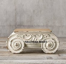 DISTRESSED IONIC CAPITAL DECOR WOODEN COFFEE TABLE - $1,599.00