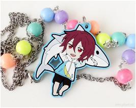 Rin Matsuoka  Necklace, Neon Rainbow Beads, Stainless Steel Chain, Very ... - $40.00