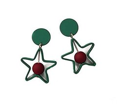 European Style Star Temperament Earrings Asymmetric Earrings,Green