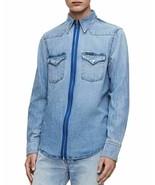 Calvin Klein Jeans Foundation Zip-Front Regular Fit Blue Denim Western S... - $69.25