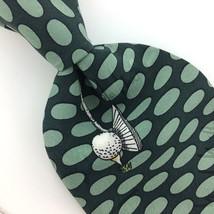 """Xl 60"""" Nicole Miller Golf Course Balls Ovals Turquoise Silk Necktie Tie N4-108 - $15.83"""