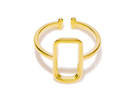 1 piece of Golden Square Geometric Simplistic Ring (JZ046B)XH - $2.50