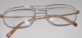 Men's Gold Rimmed Titanium Eye wear glasses Eyeglass frames RX Used - $9.49