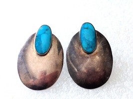 VINTAGE STERLING SILVER TURQUOISE 925 EARRINGS - $25.15