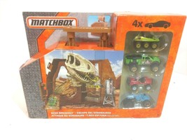 Matchbox Dino Breakout Mini Toy Playset Mattel 4 Vehicles New - $21.35