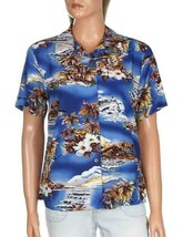 Hilo Hattie Womens Hawaiian Camp Shirt Blue Multicolor Floral Plus Sizes - $59.99