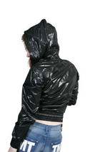 Married to the Mob Fin Court Noir Sexy Pull Capuche W Boutons Nwt image 2