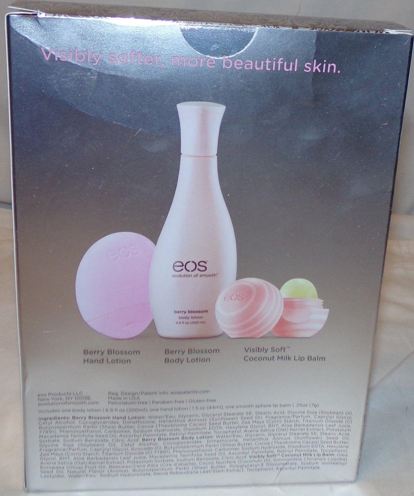 EOS Evolution of Smooth Set New Berry Blossom Hand Body Lotion Coconut Lip Balm