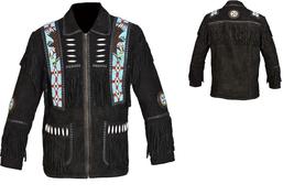 Men New Native American Buckskin Black Goat Suede Leather Bead Shirt & Pant WS69 image 4