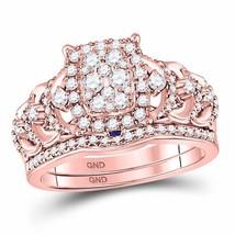 14kt Rose Gold Round Diamond Vintage-inspired Bridal Wedding Ring Set 1.00 Ctw - $1,496.52