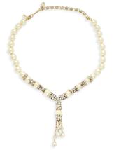 Heidi Daus Gold tone Rhinestone & Crystal Dripping teardrop faux pearl N... - $193.05
