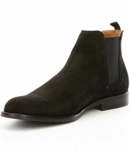 Handmade Chelsea Boot Black Color Side Elastic Slip On Suede Leather Boo... - $149.99+