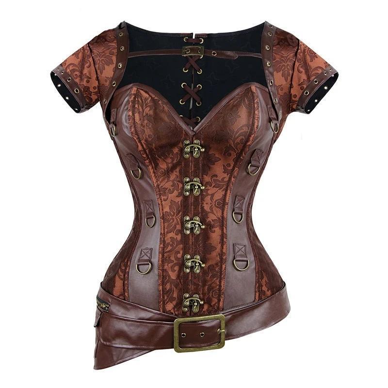 K corset sexy gothic women vintage retro corselet goth lace up bustiers korset leather plus size