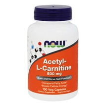 NOW Foods Acetyl L-Carnitine 500 mg., 100 Vegetarian Capsules - $20.79