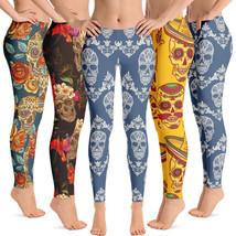 Floral Skull Leggings Collection Premium Women's Leggings Gift for Her - $44.95