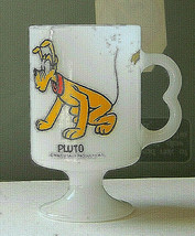 "Pluto Mug White Glass 4.75"" Tall - No loss of paint - Walt Disney Produc... - $11.88"