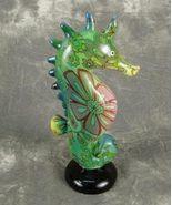 "Sea Horse Emerald Green Pattern on Shiny Base Polystone 6 1/2"" H Nautica... - $9.95"