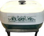 VTG West Bend Completely Immersible Floral Green/white 12x12in Electric Skillet
