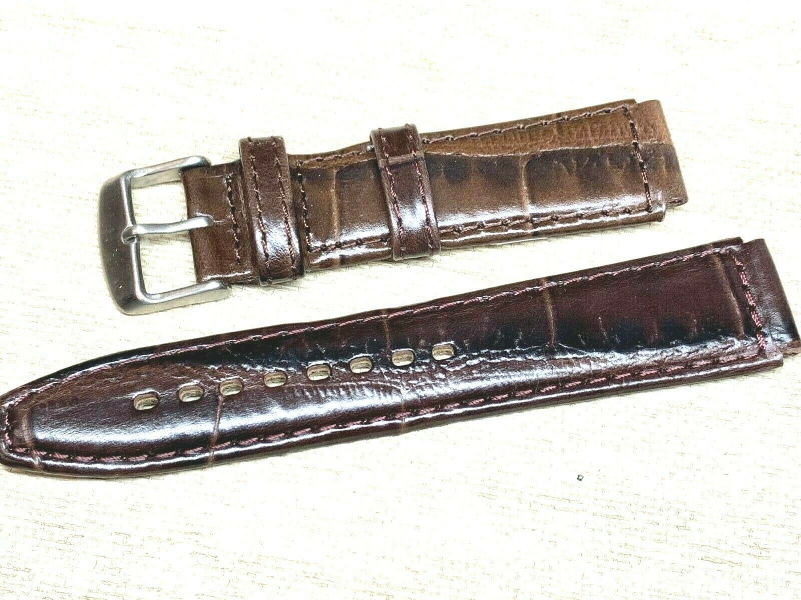 Genuine leather watch band 18mm special cut 22mm Vintage alligator grain image 3