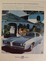 1968 Blue Pontiac LeMans There's Driving and There's Wide-Tracking Print Ad - $9.99