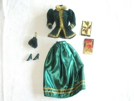 Barbie Yuletide Romance Green & Gold Jacket Skirt Purse Shoes New pink l... - $12.99