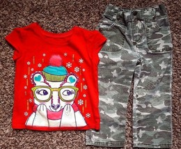 Girl's Size 2 2T Years 2 Pc Red Polar Bear PLACE Top & MUDD Camouflage P... - $23.00