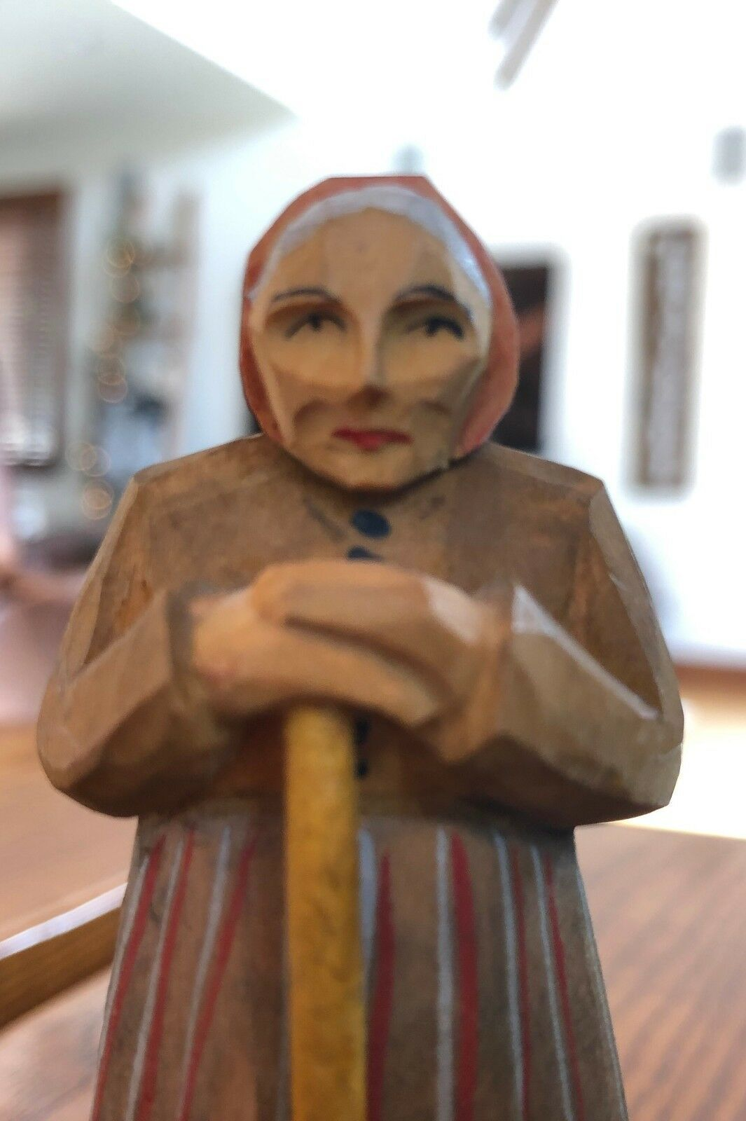Antique Hand Carved Painted Wood Old Woman with Broom Figurine