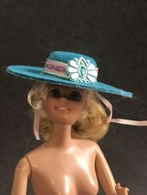 Vintage BARBIE Doll Hat  Wide Felt Aqua Blue Brimmed RARE pink band - $8.86