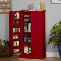 Red Wooden Kitchen Pantry Cabinet Storage Organizer Food Cupboard Shelve... - $152.36
