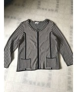 Coldwater Creek 12 Sweater Coat Jacket Black White Houndstooth Zip Front Knit - $27.76
