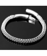 Mens Sterling Silver Bracelet Hand Crafted Woven Rope Chain Hip Hop Dand... - $184.73