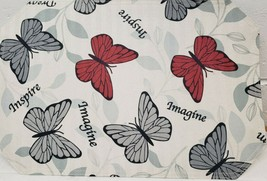 "SET OF 2 LINEN FABRIC PLACEMATS 12""x18"", BUTTERFLIES, DREAM, IMAGINE,INS... - $11.87"