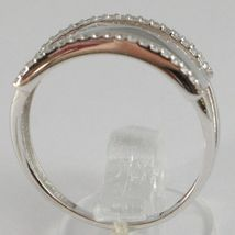 White Gold Ring 750 18K, Veretta 3 Row with Zircon Cubic , Squared image 3