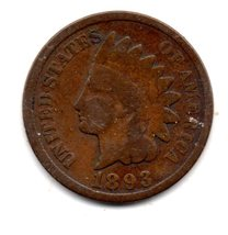 1893 Indian Head Cent Circulated abt Very good - $3.99