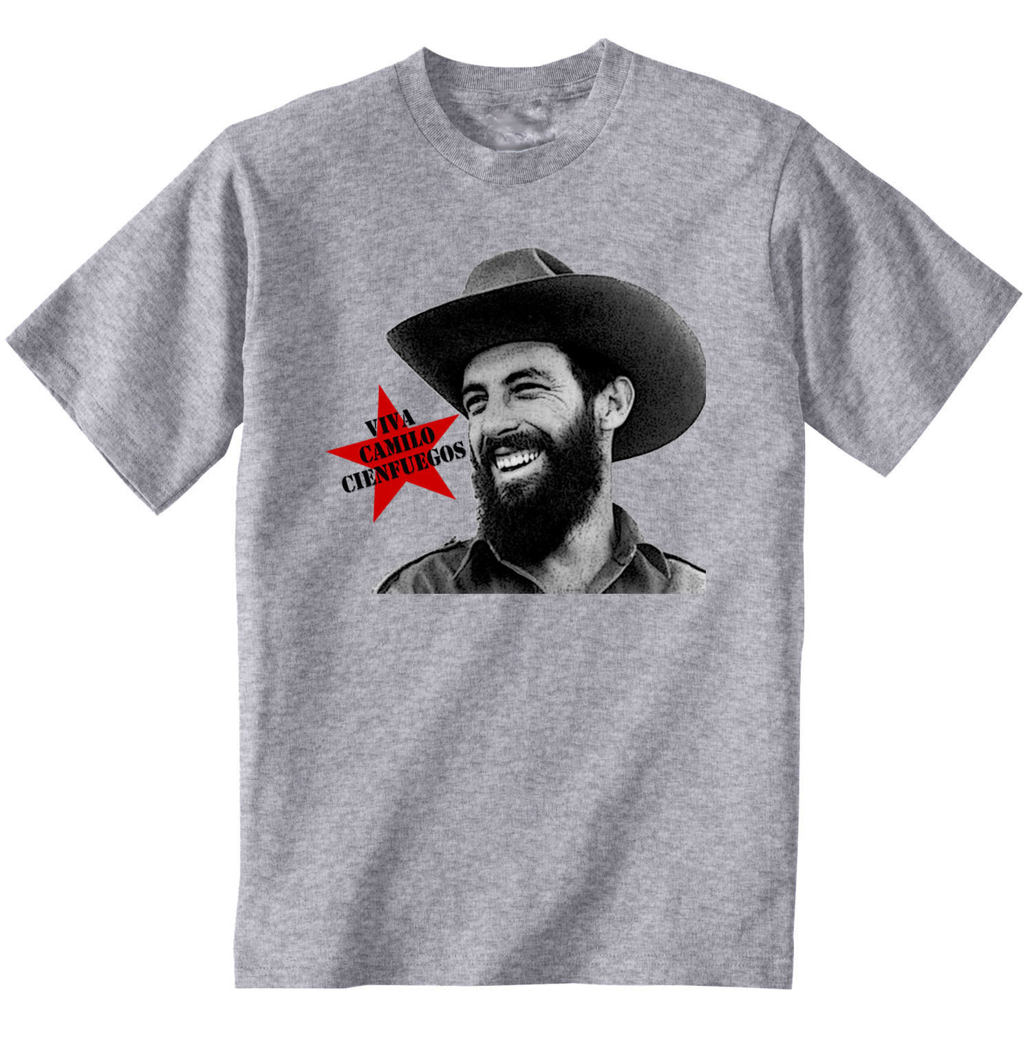 CAMILO CIENFUEGOS CUBAN REVOLUTION - NEW COTTON GREY TSHIRT