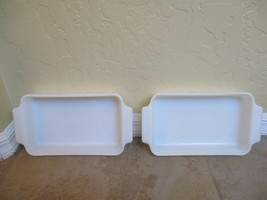 """2 Vintage Fire King (By Anchor Hocking) 10"""" Inch 1.5 Quart Pans White Glass - $18.99"""
