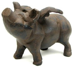 "Huge Reproduction Cast Iron Flying Pig Statue 11"" Door Stop 0170-13601 - $47.60"