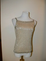 ANN TAYLOR Beaded Sequin Party Tank Top Gold Metallic Women's Size Smal... - $29.99