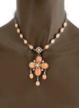 Vintage Inspiriert Anhänger Freizeit Halskette Set Lachs Coral Schillernd Strass - $16.16