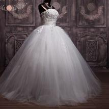 3D Floral Lace Corset Wedding Ball Gown Puffy Princess Wedding Dress image 3