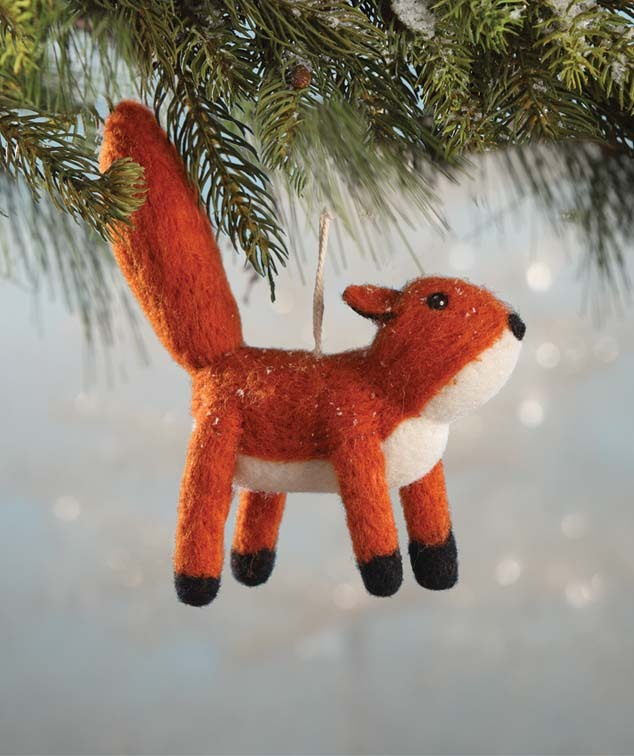 Wool Felted Fox Ornament by Bethany Lowe